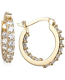 "Cubic Zirconia Small In & Out Hoop Earrings in 18k Gold-Plated Sterling Silver, 0.74"", Created for Macy's"