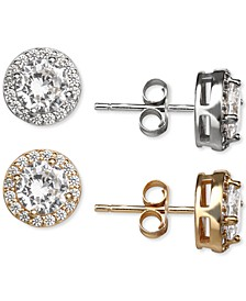 2-Pc. Set Cubic Zirconia Halo Stud Earrings in Sterling Silver & 18K Gold-Plate, Created for Macy's