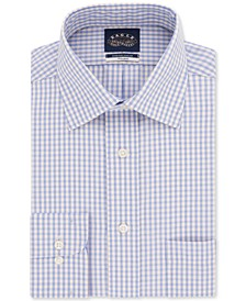 Men's Slim-Fit Non-Iron Stretch Collar Lemon Check Dress Shirt