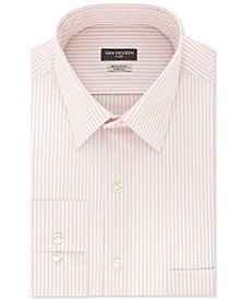 Men's Classic/Regular-Fit Non-Iron Performance Stretch Flex Collar Spark Stripe Dress Shirt