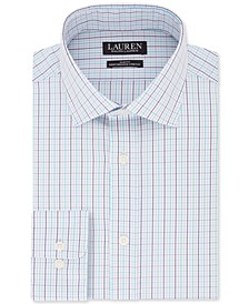 Men's Slim-Fit Non-Iron UltraFlex Performance Stretch Blue Multi-Check Dress Shirt