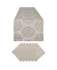 Winter Sparkle Jacquard Table Runner and Napkin, Set of 2