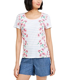Floral-Stripe T-Shirt