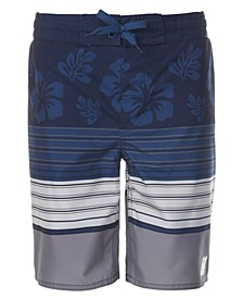 Big Boys Floral Stripe Swim Trunks