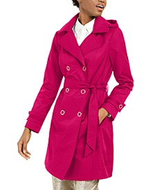 Petite Double-Breasted Hooded Water Resistant Trench Coat