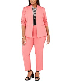 Trendy Plus Size Open-Front Jacket, Bi-Stretch Pants & Striped Tie-Neck Top, Created for Macy's