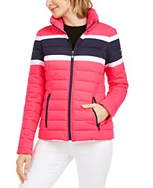 Hooded Colorblocked Water-Resistant Hooded Packable Jacket