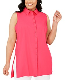 Plus Size Sleeveless Knit Button-Front Blouse, Created for Macy's
