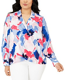 Plus Size Printed Collared Surplice Top, Created for Macy's