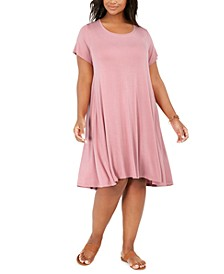 Plus Size Short-Sleeve Swing Dress, Created for Macy's