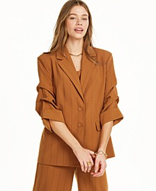 Pinstripe Blazer with Ruched Sleeves, Created for Macy's