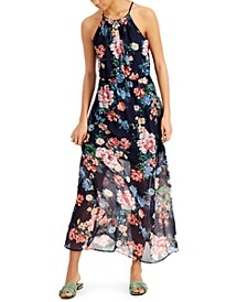 Juniors' Floral-Print Necklace Maxi Dress