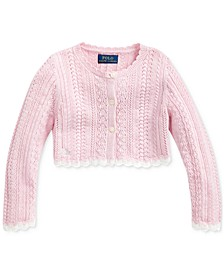 Little Girls Cropped Cotton Cardigan