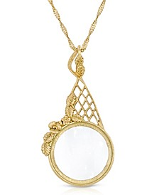 "Gold Tone Filigree Magnifying Glass 28"" Necklace"