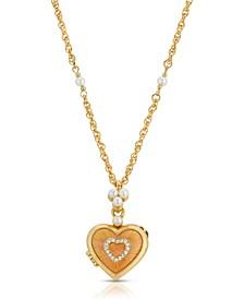 Enamel Heart Locket with Station Chain