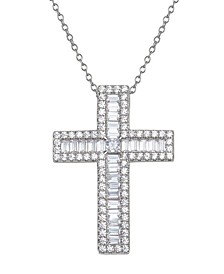 "Cubic Zirconia Cross 18"" Pendant Necklace in Sterling Silver"