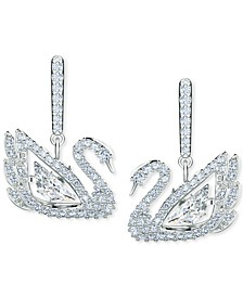 Silver-Tone Pavé & Dancing Stone Swan Drop Earrings