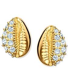 Gold-Tone Pavé Shell Stud Earrings
