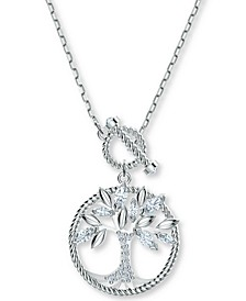 "Silver-Tone Crystal Tree of Life 17-5/8"" Pendant Necklace"