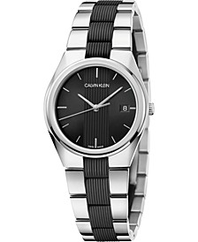 Men's Contrast Stainless Steel & Black Silicone Bracelet Watch 40mm