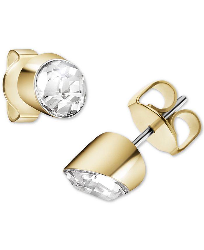 Calvin Klein - Crystal Stud Earrings in Gold-Tone PVD