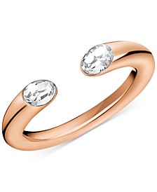 Crystal Cuff Ring in Rose Gold-Tone PVD