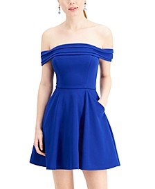 Juniors' Off-The-Shoulder Skater Dress