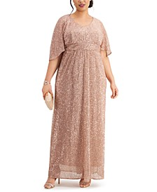 Plus Size Sequin Flowy Gown