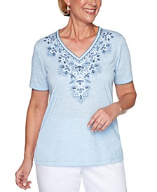 Petite Petal Pushers Embroidered Top