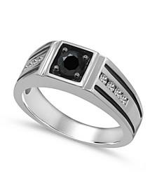 Men's Black & White Diamond  (1 ct. t.w.) Ring in 10K White Gold