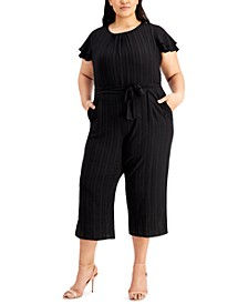 Plus Size Flutter-Sleeve Textured Cropped Jumpsuit