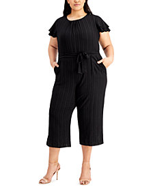 Calvin Klein Plus Size Flutter-Sleeve Textured Cropped Jumpsuit