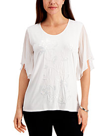 JM Collection Sequin Flutter-Sleeved Top, Created for Macy's