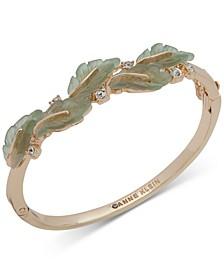 Gold-Tone Crystal Accented Leaf Bangle Bracelet