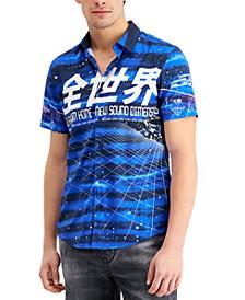 Men's Indigo Galaxy Graphic-Print Shirt