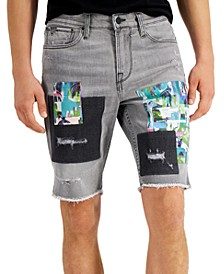Men's Slim-Fit Stretch Patchwork Destroyed Denim Shorts