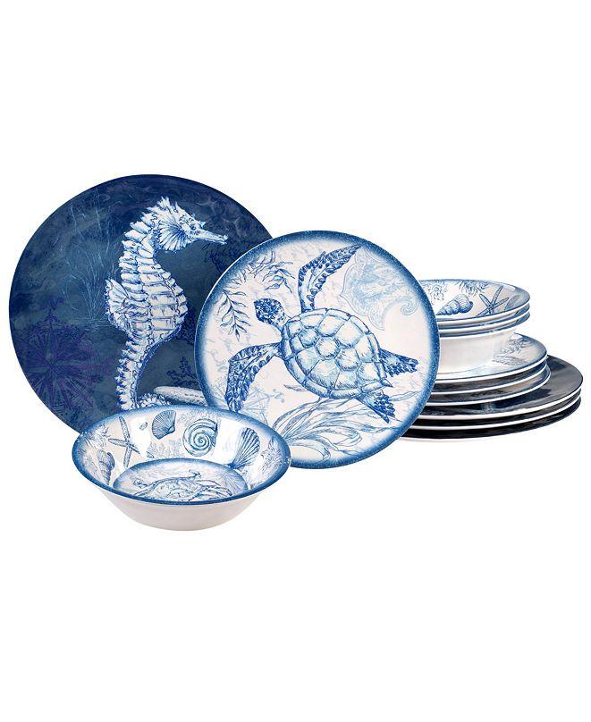 Certified International Oceanic Melamine 12-Pc. Dinnerware Set