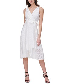 Double-V Textured Faux-Wrap Dress