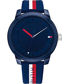 Men's Multicolor Striped Silicone Strap Watch 44mm, Created for Macy's