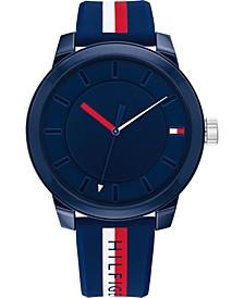 Men's Multicolor Striped Silicone Strap Watch 44mm