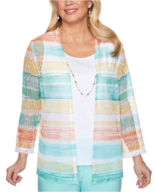 Alfred Dunner Petite Spring Lake Watercolor Biadere Two-For-One Top