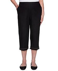 Petite Checkmate Denim Lace Fringe Capri Jeans