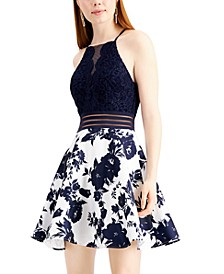 Juniors' Illusion-Waist Fit & Flare Dress