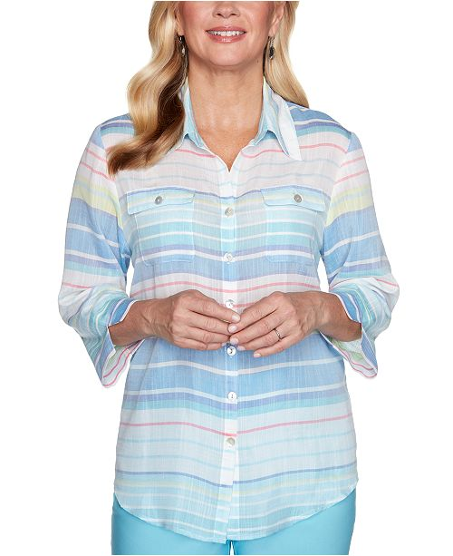 Alfred Dunner Petite Sea You There Striped Shirt