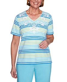 Petite Sea You There Multi-Striped Floral Embroidered Top