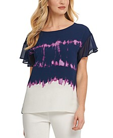 Printed Mixed-Media Top