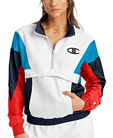 Women's Colorblocked Mixed-Media Half-Zip Jacket