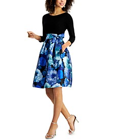 Floral-Skirt Fit & Flare Dress