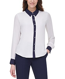 Collared Button-Down Blouse
