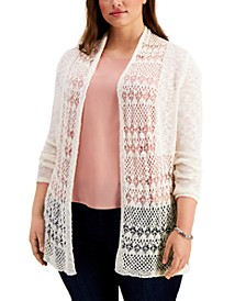 Plus Size Open-Knit Cardigan